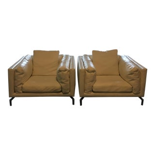 Giorgio Soressi Como for Design Within Reach Leather Club Chairs - a Pair