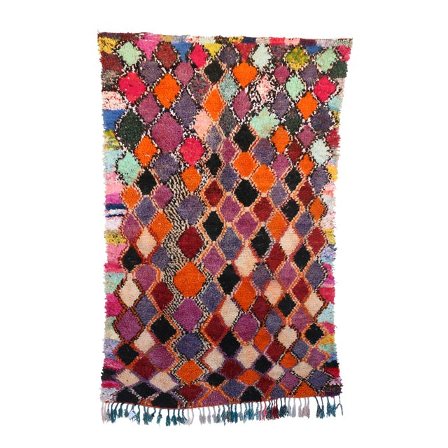 1980s Vitnage Moroccan Boujad Rug - 5′6″ × 8′11″ For Sale