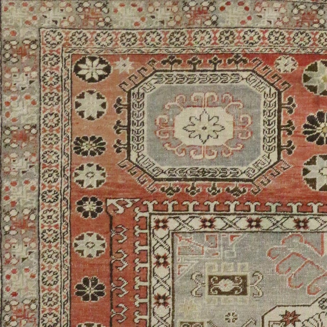 """Distressed Turkish Mid-Century Modern Style Square Rug - 4'3"""" x 4'5"""" - Image 6 of 7"""