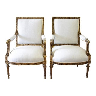 19th Century Louis XVI Carved Giltwood Chairs - A Pair For Sale