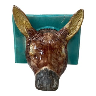 19th Century French Majolica Deer Head Shelf Applique For Sale