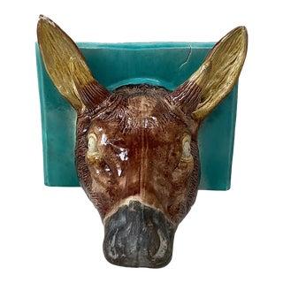 19th Century French Majolica Deer Head Shelf Applique For Sale