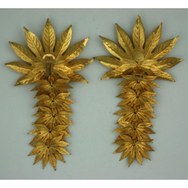 Modern Dominique Aurentis Massive Pearl and Gilt Metal Palm Frond Earclips For Sale - Image 3 of 5