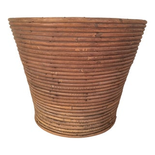 Vintage Coiled Bamboo Planter Basket For Sale