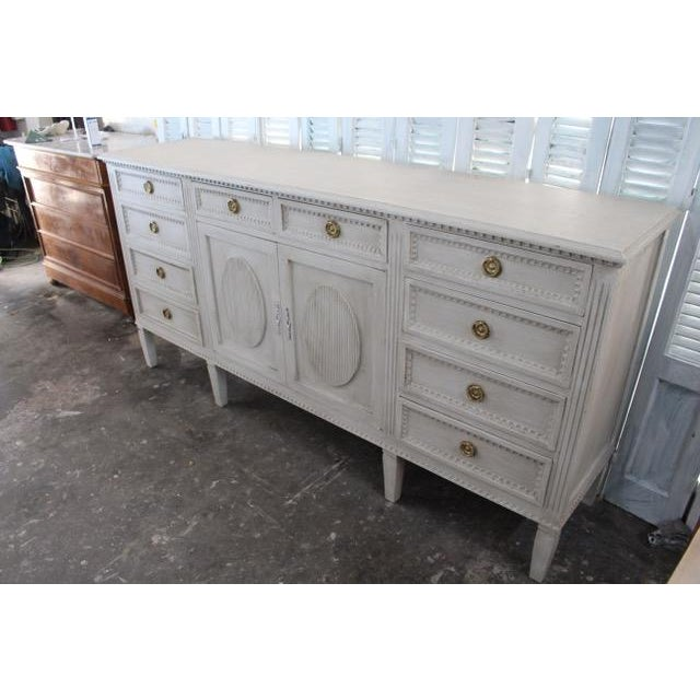 Mid-Century Modern 20th Century Gustavian Style Distressed Painted Sideboard For Sale - Image 3 of 8
