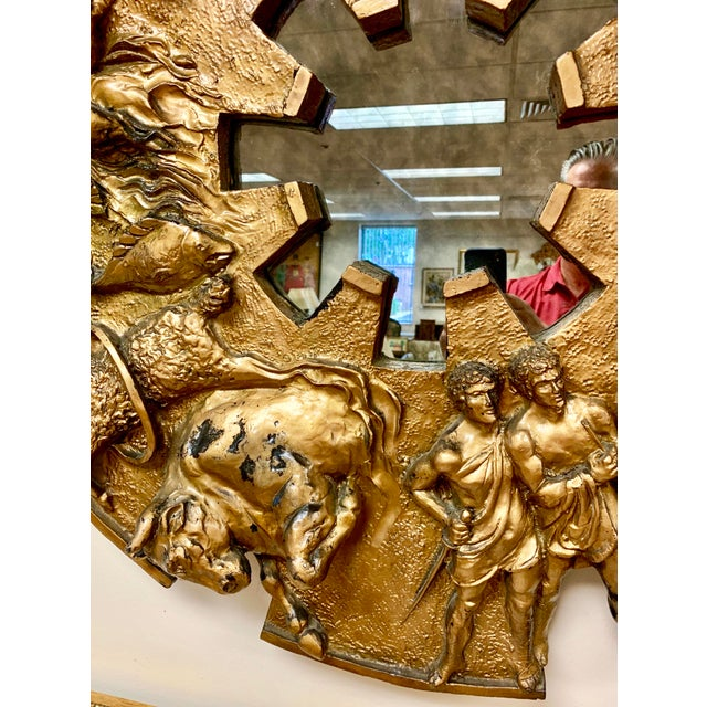 1970s Brutalist Round Gold Relief Zodiac Sign Mirror For Sale - Image 9 of 10