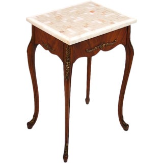 Louis XV French Style Marble Top Carved Gilt Wood Occassional End Table For Sale