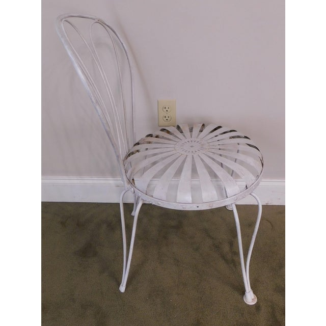 Vintage Pair Painted Pinwheel Iron Garden Chairs After Francois Carre For Sale - Image 9 of 13