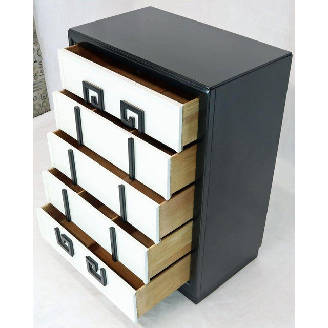 Kittinger Mandarin Style Chest Dresser Black and White Lacquer Five Drawers For Sale - Image 10 of 11