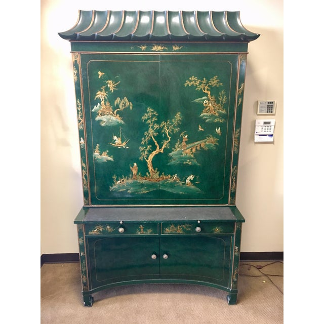 Emerald Green Lacquer Asian Chinoiserie Secretary Desk China Cabinet Armoire For Sale - Image 13 of 13