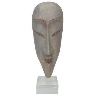 Ceramic Silver Glazed Glass Mask For Sale