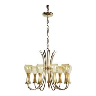 Mid-Century Brass & Glass Italian Fixture For Sale