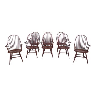Traditional Stickley Cherry Windsor Arm Chairs - Set of 8 For Sale