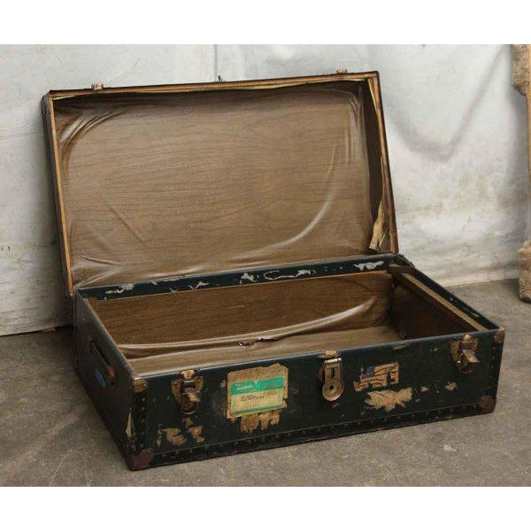 Antique Trunk With Bronze Hardware For Sale - Image 4 of 9