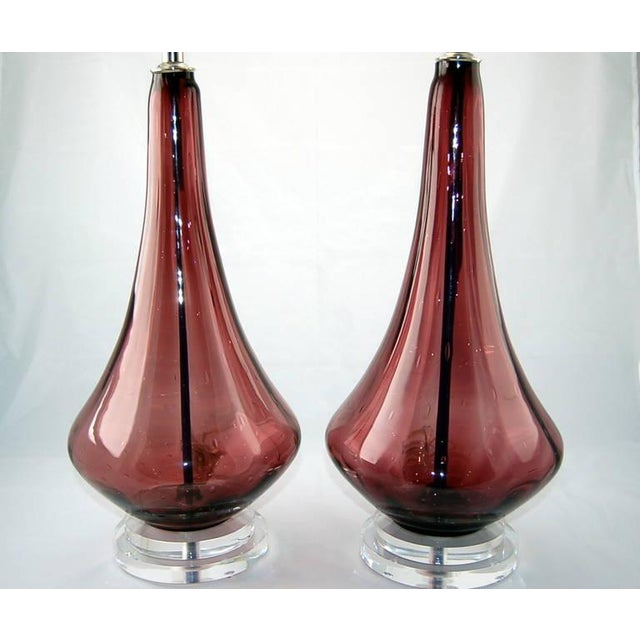 Contemporary Vintage Murano Glass Petticoat Table Lamps Purple For Sale - Image 3 of 7