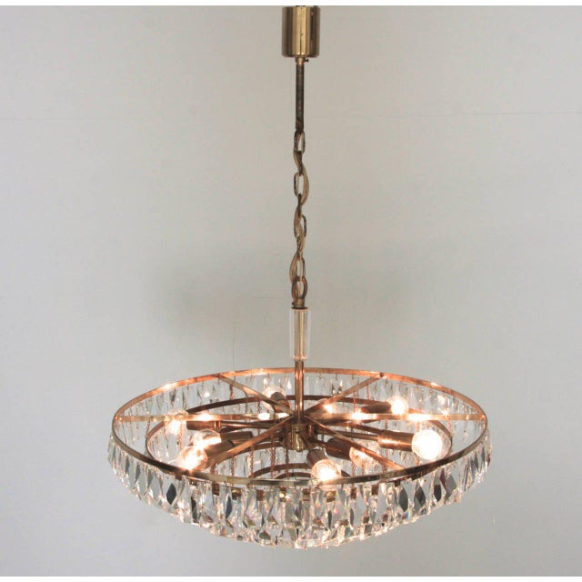 Mid-Century Modern Extraordinary Huge Palwa Gilded Brass and Crystal Glass Chandelier For Sale - Image 3 of 8