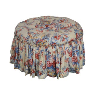 Custom Quality Round Tufted Floral Upholstered Ottoman For Sale