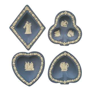 Mid-Century Blue Wedgwood Jasperware Trays in Playing Card Suits Shapes-Made in England - Set of Four For Sale