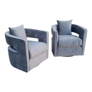 Modernist Swivel Club Chairs - A Pair