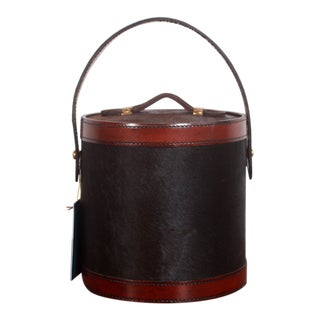Tommy Bahama Leather & Cow Hide Cocktail Ice Bucket For Sale