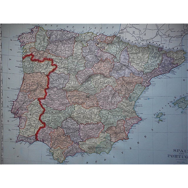 "Traditional Antique Map of Spain & Portugal-27.5""x21.25"" For Sale - Image 3 of 3"