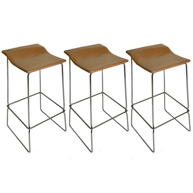 "Set of Three ""Last Minute"" Stitched Leather & Steel Bar Stools, Patricia Urquiola For Sale In New York - Image 6 of 6"