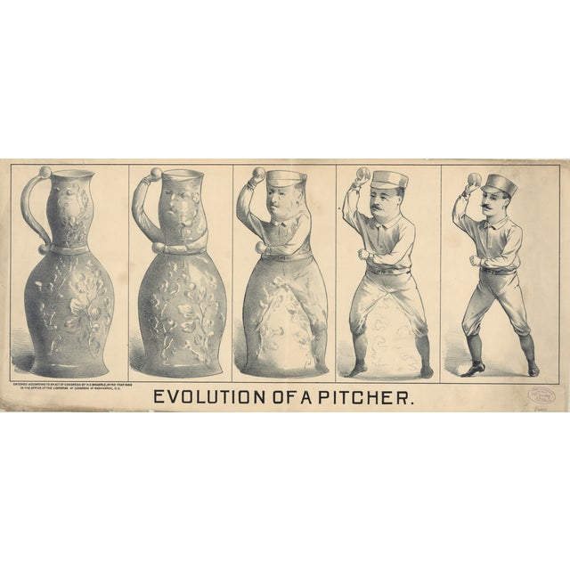 Evolution of a Pitcher, Baseball Print from 1800s - Image 1 of 3
