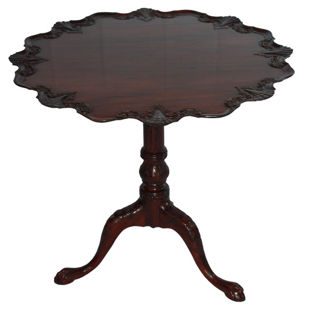 Wood Carved Mahogany Pie Crust Tilt-Top Table For Sale - Image 7 of 7