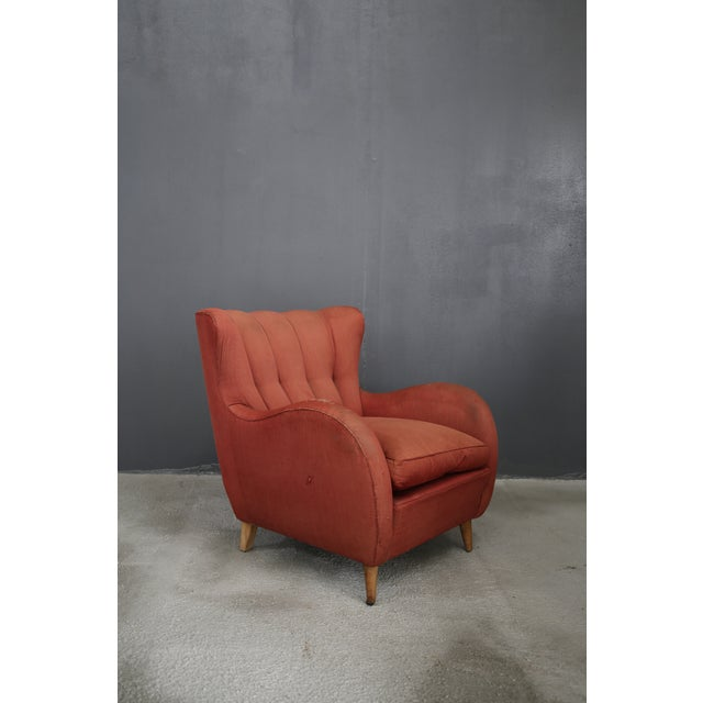 40s armchairs attributed to Gio Ponti in original fabric of the time, to be restored