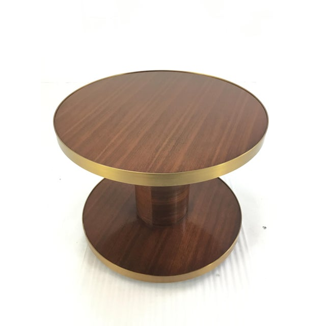 Stylish modern Barbara Barry for Henredon small wood drum table, opulent mahogany finish trimmed in antiqued brass,...