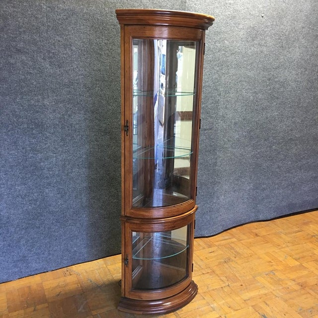 Solid Wood Corner Curio Cabinet With Glass Doors - Image 2 of 10
