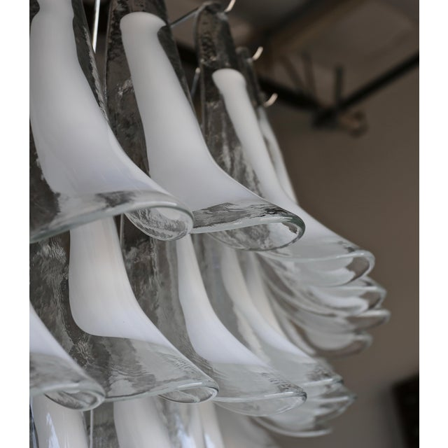 "Metal Mazzega Large Scale Murano "" Selle "" Glass Chandelier Circa 1988 For Sale - Image 7 of 13"