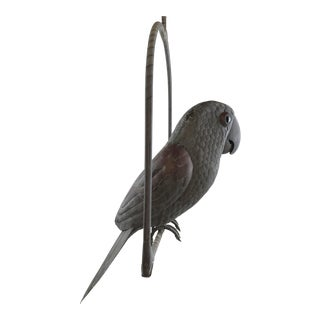 1960s Vintage Sergio Bustamante Swinging Parrot on Perch
