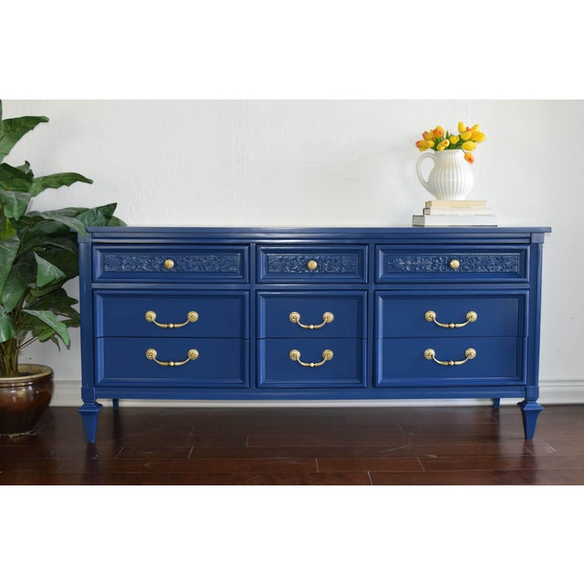 Unique Permacraft navy blue dresser. Refinished in Inked by BEHR. Original handles were polished. Use it as a sideboard,...
