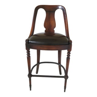 Theodore Alexander Walnut Bar Stool High Chair For Sale