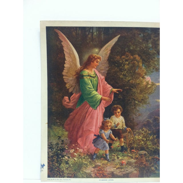 """This is a vintage color print that is titled """"Guardian Angel"""" Published by W.C. Company located in Tyrone, Pennsylvania...."""