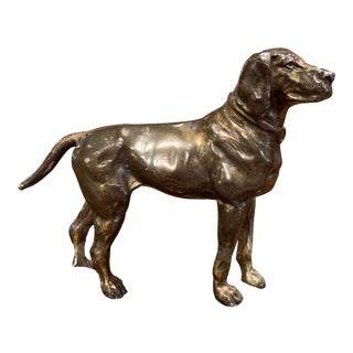 19th Century French Patinated Bronze Hunt Dog Sculpture in the Manner of Cartier For Sale