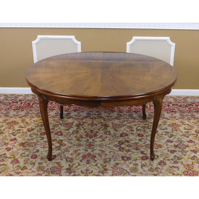 Contemporary Fruitwood Cherry Oval French Provincial Style Baker Furniture Dining Table For Sale - Image 3 of 11