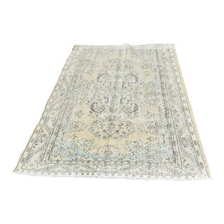 "Vintage Turkish Oushak Handwoven Wool Area Rug - 6'6""x9'3"" For Sale"
