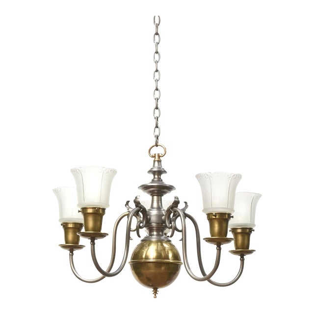 Five Light Pewter and Brass Colonial Revival Chandelier For Sale