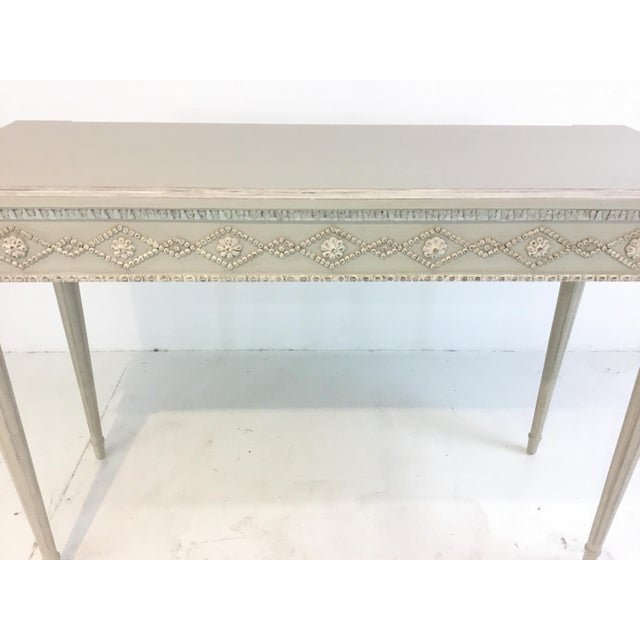 Ave Home Gustavian Swedish Gray Console Table For Sale - Image 4 of 5