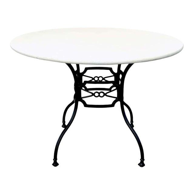 Neoclassical Horse-Bit & Travertine Garden/Patio Table Provenance Celine Dion For Sale