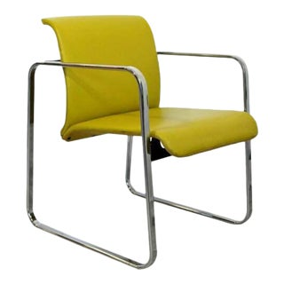 Mid Century Modern Peter Protzman Herman Miller Yellow Leather & Chrome Chair For Sale