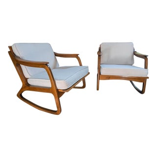 1950s Danish Modern Caned Rocking Chairs - a Pair