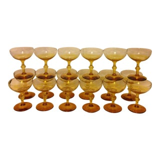 Mid Century Ombre Amber Coupe Glasses - Set of 18 For Sale