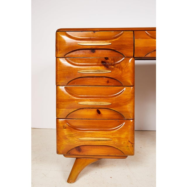 Midcentury Sculptured Pine Desk by the Franklin Shockey Company For Sale - Image 12 of 13