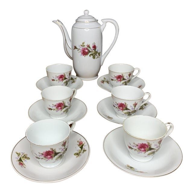 Pink Roses Tea and Teapot Set For Sale
