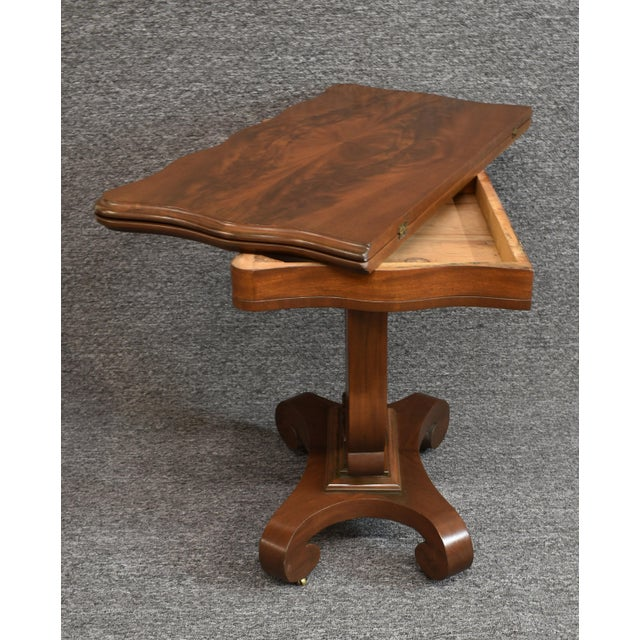 Wood Antique Empire 1830s Mahogany Lyre Base Game Table For Sale - Image 7 of 11