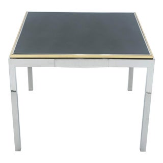 1970s Willy Rizzo Lacquered Chrome Brass Flaminia Game Table For Sale