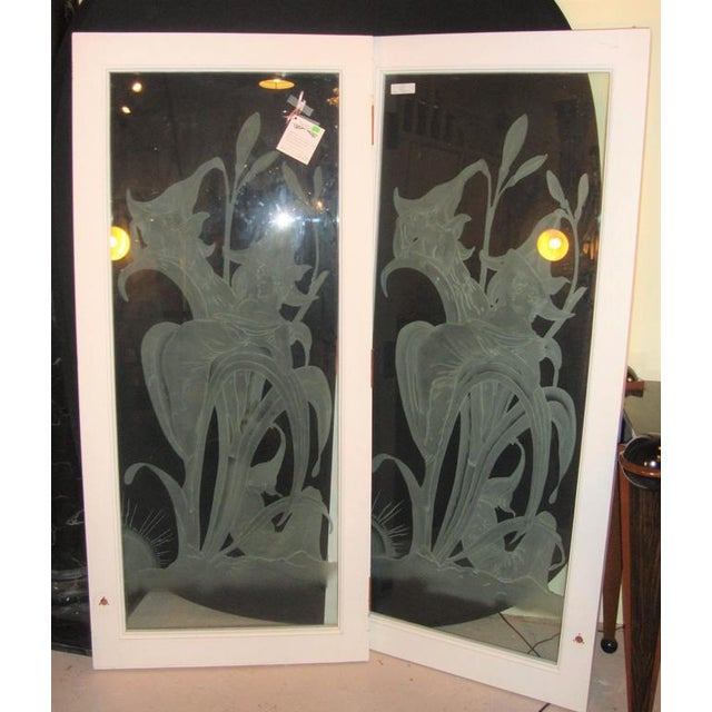 Art Deco Art Deco Style Etched Glass Wall Decorations - A Pair For Sale - Image 3 of 7